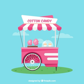 Blue background of cotton candy cart in flat design