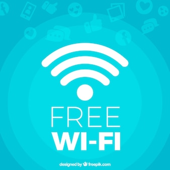 Blue background of free wifi