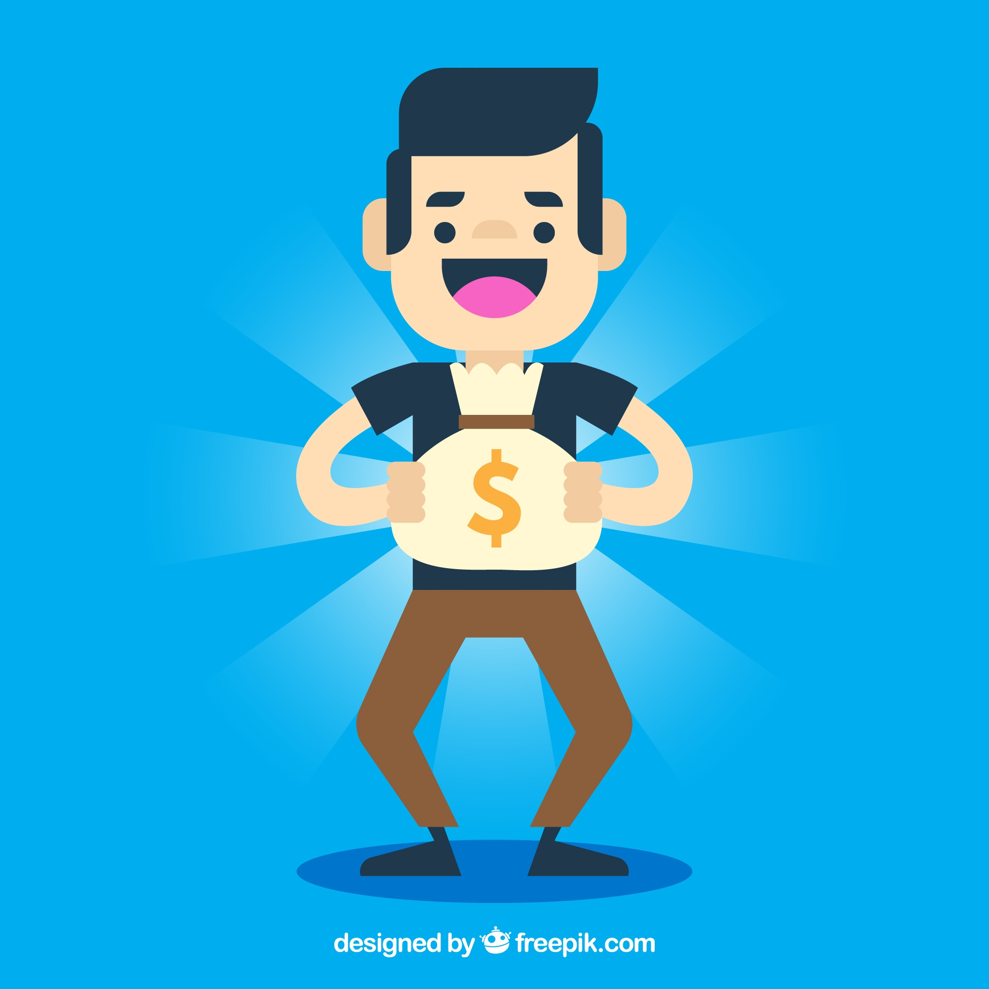 Blue background of happy boy with shiny money bag