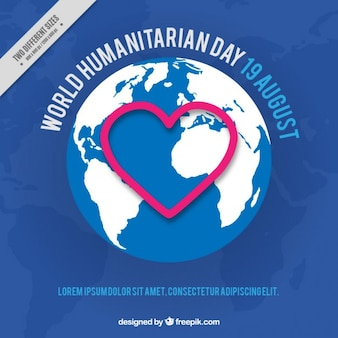 Blue background of humanitarian day with a heart in the world