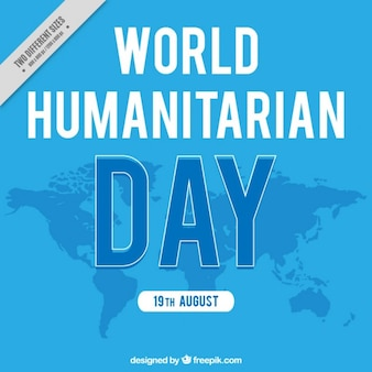 Blue background of humanitarian day with map