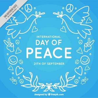 Blue background of peace day drawings