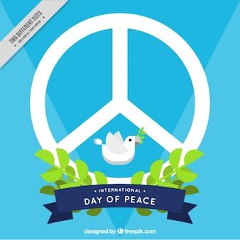 Blue background of peace symbol with a dove