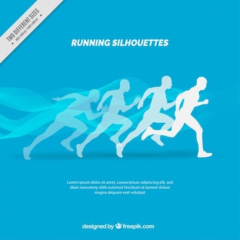 Blue background of silhouettes running