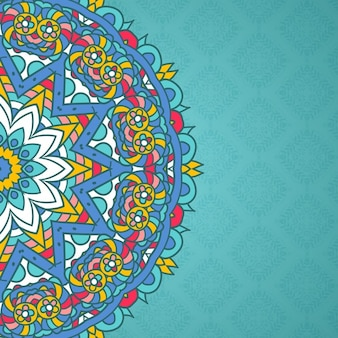 Blue background with a pretty mandala