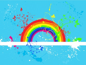 Blue background with a rainbow
