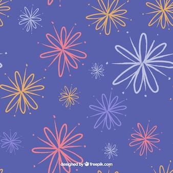 Blue background with abstract flowers