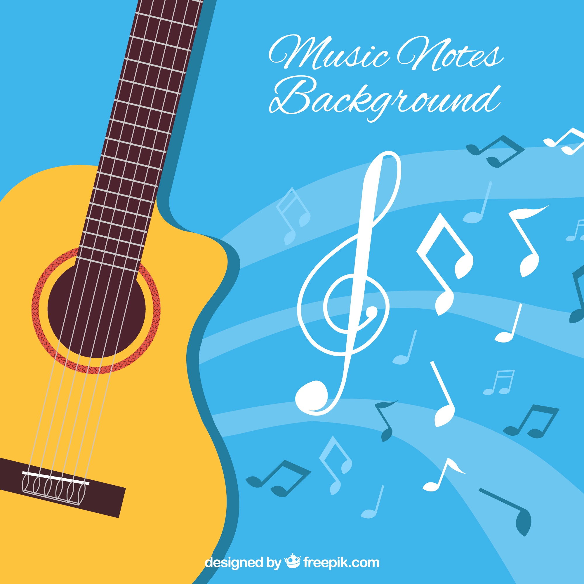 Blue background with acoustic guitar and musical notes
