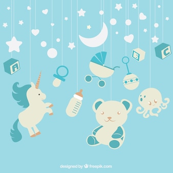 Blue background with baby elements hanging
