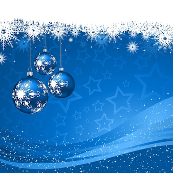 Blue background with baubles and snowflakes