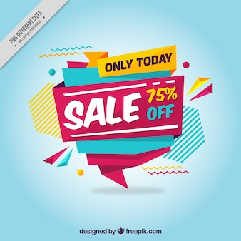 Blue background with colorful sale banner in geometric style