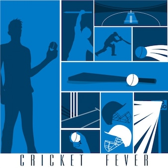 Blue background with cricket elements