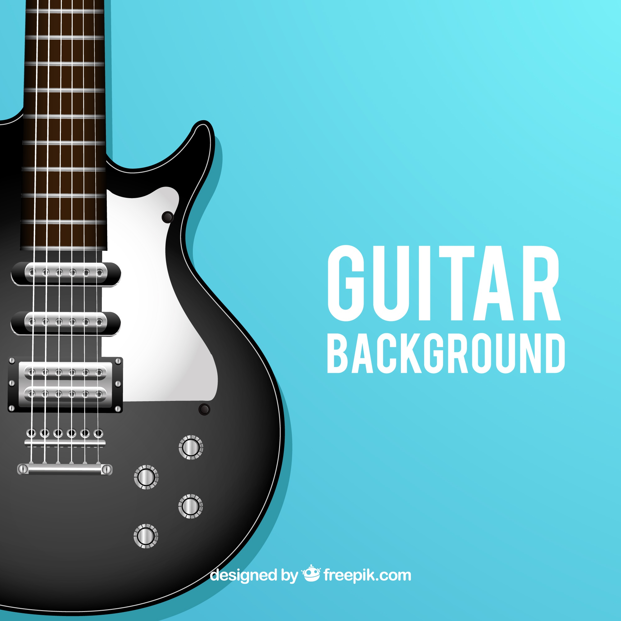 Blue background with electric guitar in realistic design