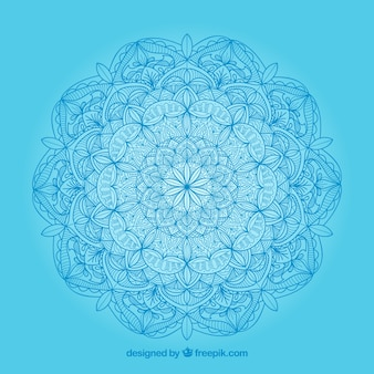 Blue background with hand drawn mandala