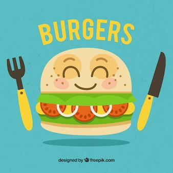 Blue background with happy burger character and cutlery