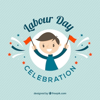 Blue background with happy man celebrating labour day