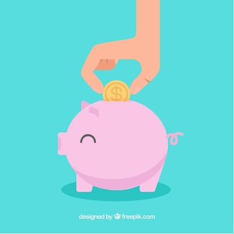 Blue background with happy piggy bank