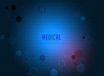Blue background with hexagons of medicine