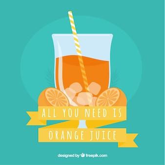 青い背景にオレンジジュース