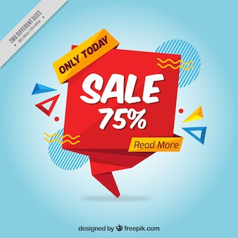 Blue background with origami sale banner