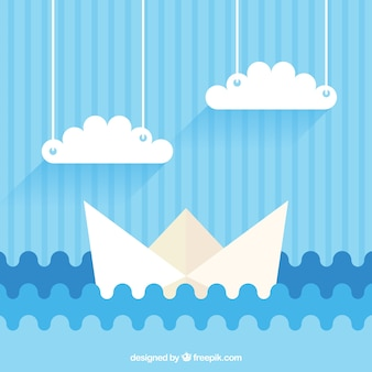 Blue background with paper boat and clouds