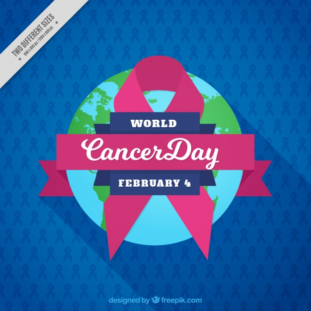 Blue background with pink ribbon for world cancer day