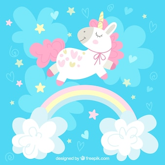 Blue background with pretty unicorn and rainbow with clouds