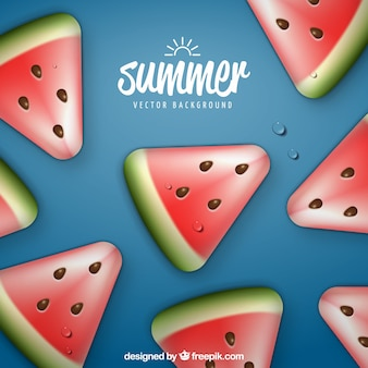 Blue background with realistic watermelon pieces