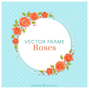 Blue background with round floral frame