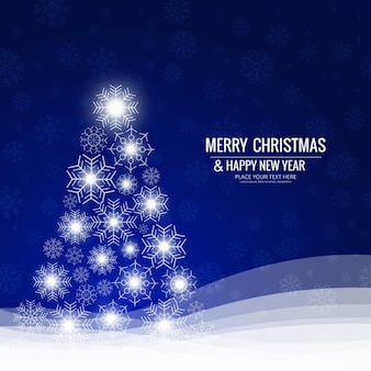 Blue background with shiny christmas tree