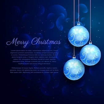 Blue background with shiny hanging christmas balls
