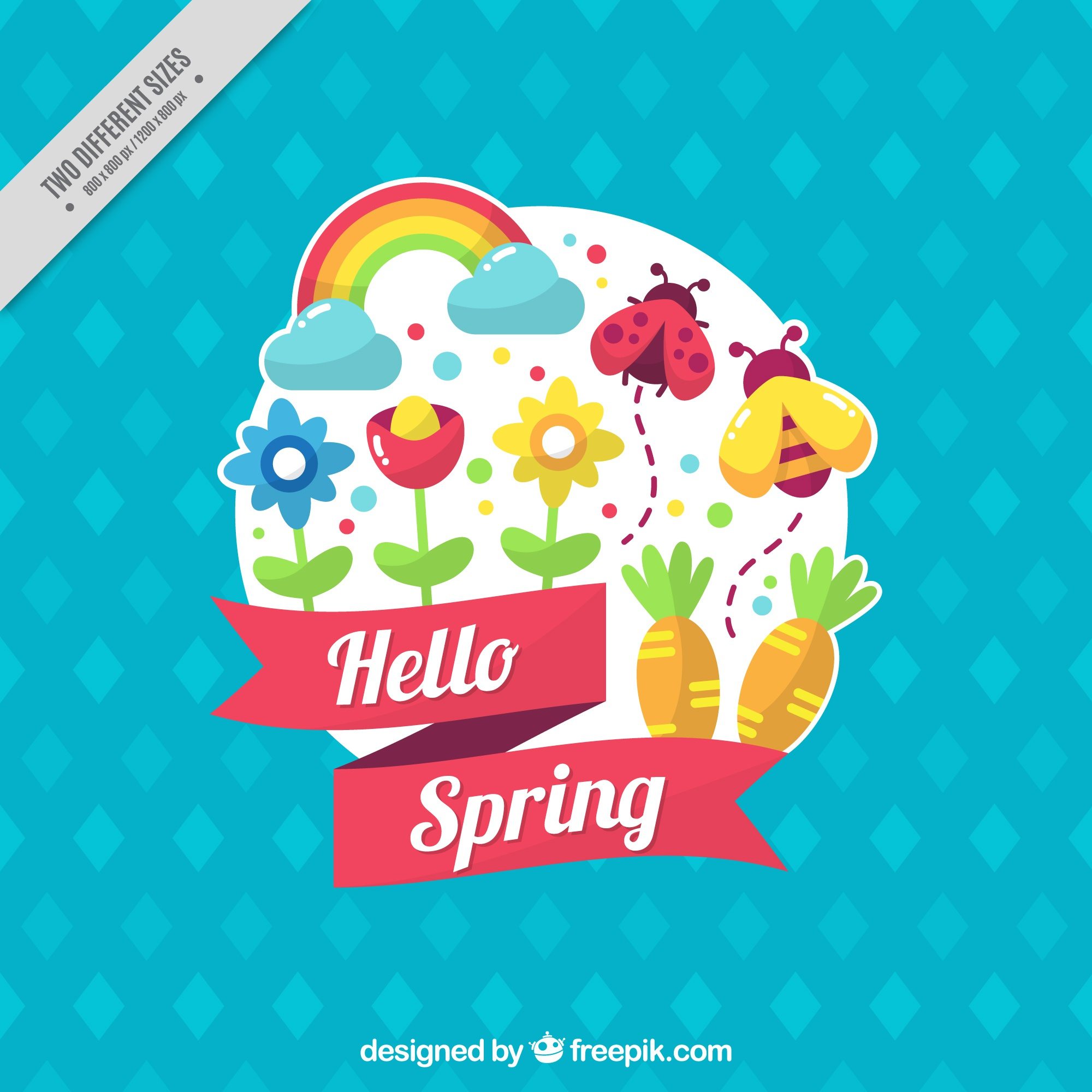 Blue background with spring items in flat design