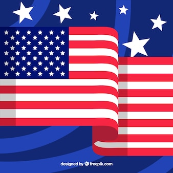 Blue background with stars and the american flag