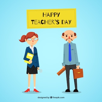 Blue background with teachers in flat style