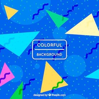 色の三角形の青い背景