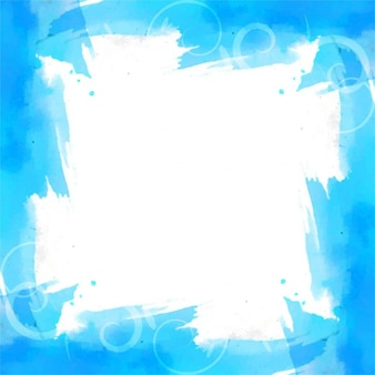 Blue background with watercolor frame