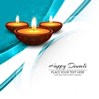 Blue background with wavy shapes and three candles for diwali