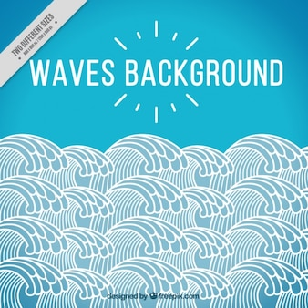 Blue background with white waves