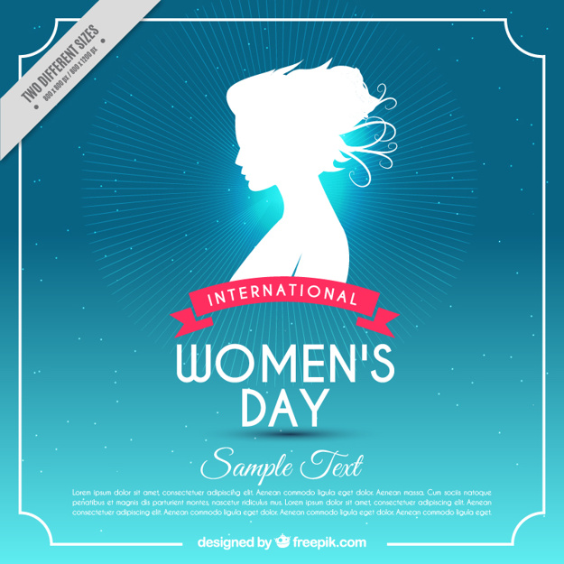 Blue background with woman silhouette