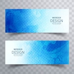 Blue banner decorated with dots and watercolors