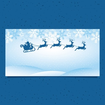 Blue banner with santa claus and reindeers