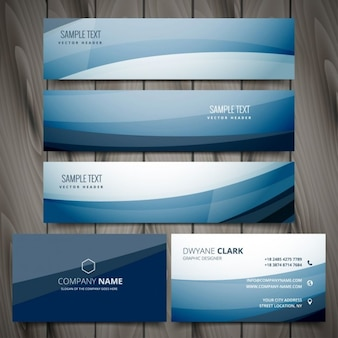 blue banners and business card