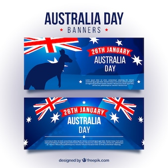 Blue banners for australia day with flags