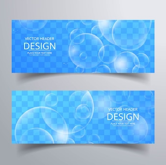 Blue banners with bubbles