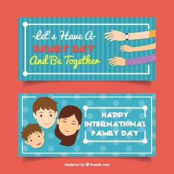 Blue banners with smiling characters and hands for family day