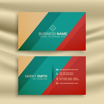 Blue, beige and red business card