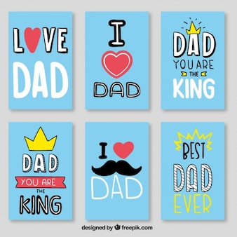 Blue best dad card set