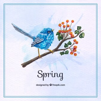 Blue bird background on a watercolor branch
