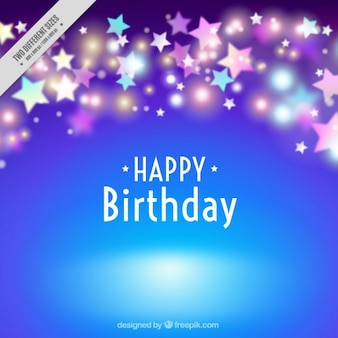 Blue birthday background with bright stars