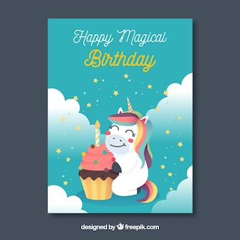Blue birthday card with a happy unicorn